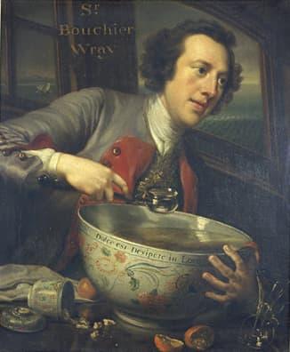 """George Knapton: Bourchier Wray, 6th Baronet, 1744, dargestellt auf einem Schiff auf See, mit einer Schale voll Punsch, mit einer Inschrift auf derselben von Horaz, IV Odes, xii, """"Dulce est Desipere in Loco"""" - """"Es ist süß zur rechten Zeit, töricht zu handeln""""."""