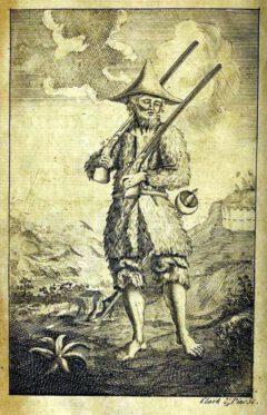 Robinson Crusoe. Titelbild in Daniel Defoe The life and strange surprizing adventures of Robinson Crusoe. Lonon, 1719