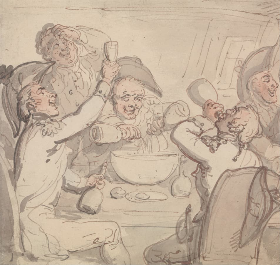 Thomas Rowlandson: Naval Officers and a Bowl of Punch, undatiert.
