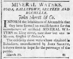 Alexandria Daily Gazette, 2. April 1812, Seite 3. Anzeige für Soda Water.