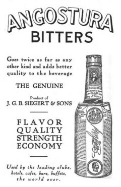 """Angostura Bitters, Anzeige von 1913, aus Jacques Straubs Buch """"A Complete Manual of Mixed Drinks""""."""