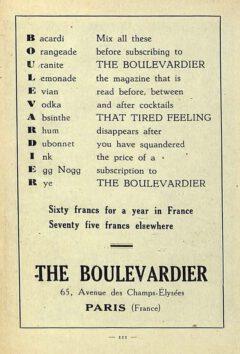 "Boulevardier-Anzeige. Aus Harry McElhones Buch ""Barflies and Cocktails"", 1927."