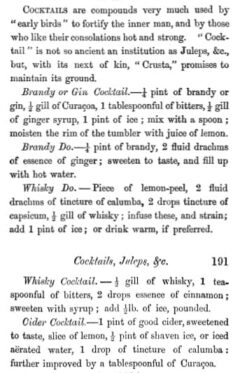Cocktails. William Terrington, Cooling Cups and Dainty Drinks, 1869, Seite 190-191.