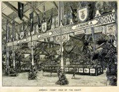 """Der Jamaika-Stand auf der londoner """"Colonial and Indian Exhibition"""" im Jahr 1886."""
