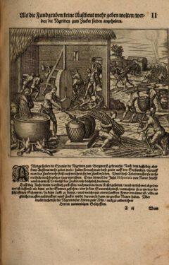 """Darstellung des Zuckerherstellung, Tafel 2 aus Girolamo Benzonis 1595 erschienenen Buch """"Americae Das Fünffte Buch""""."""