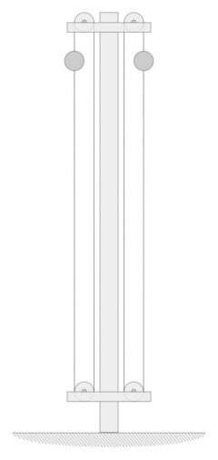 """Ein Highball-Signal der """"Baltimore and Ohio Railroad"""" für zwei nebeneinander liegende Gleise. Nachgezeichnet aus """"Les Chemins de Fer Amérique"""" von E. Lavoinne und E. Pontzen aus dem Jahr 1880."""