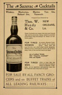 James S. Zacharie, New Orleans Guide, 1902, Anzeige Sazerac Cocktails.