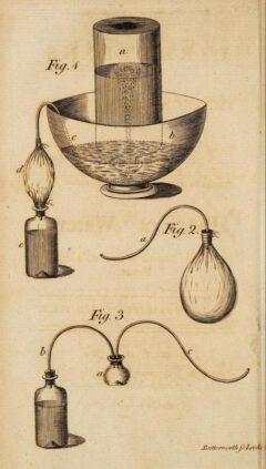 Joseph Priestley: Apparatur zur Herstellung von sprudelndem Wasser.