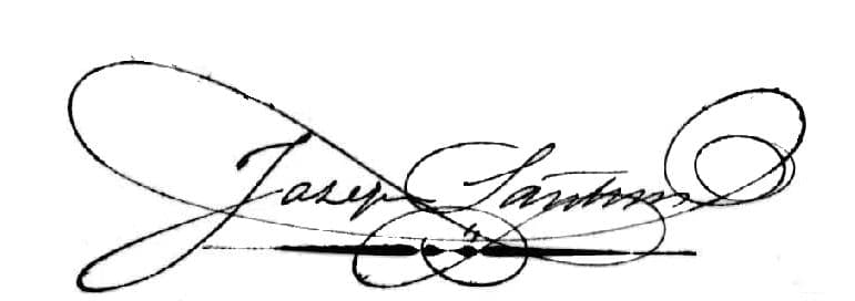 Joseph Santini, Unterschrift vom 18. Februar 1864.