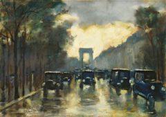 Leo Lesser Uri: Champs-Élysées mit Arc de Triomphe, 1928.