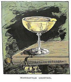 """Die erste Abbildung eines Manhattan Cocktails aus Harry Lamores Buch """"The Bartender or How to Mix Drinks"""" aus dem Jahr 1888."""