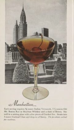 Manhattan. Leo Cotton, Old Mr. Boston Official bartender's Guide, 1953. Seite 112f.