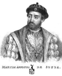 """Martim Affonso de Sousa, aus Pero Lopes de Sousas Bericht """"Diario da navegação da armada que foi á terra do Brasil - em 1530 -sob a capitania-mor de Martim Affonso de Souza"""", Lissabon 1839."""