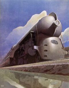 Die Hudson-Lokomotive J-3a des 20th Century Limited auf einer Werbegrafik der New York Central, 1938.