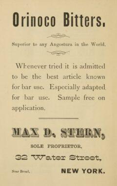 """Orinoco Bitters, Anzeige von 1884, aus George Winters Buch """"How to Mix Drinks""""."""