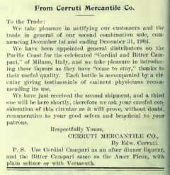 Pacific Wine & Spirit Review, Volume 47, No. 1, vom 30. November 1904, Seite 44.