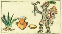 Mayahuel mit einer reifen Agave und einem Topf mit fermentierter Agave. Aus dem Codex Borbónico, um 1530.