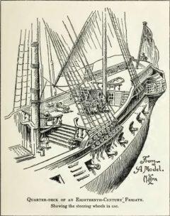Erhöhtes Achterdeck einer Fregatte aus dem 18. Jahrhundert, zwischen dem Hauptmast und dem noch höheren Poopdeck.