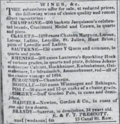 Sazerac-Anzeige im Daily Picayune, 1842.
