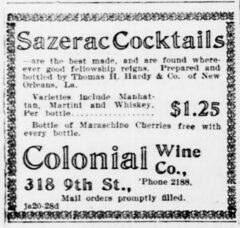 Sazerac Cocktails. Evening Star, 23. Juni 1904, Seite 6.