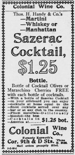 Sazerac Cocktails. Evening Star, 3. Februar 1903, Seite 9.