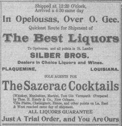 Sazerac Cocktails. St. Landry Clarion, 6. Februar 1909, Seite 7.