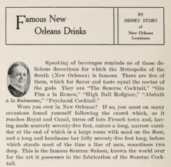 Sidney Story - Famous New Orleans Drinks, 1911.