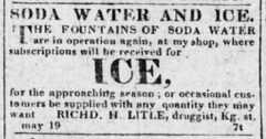 Soda Water and Ice. The Alexandria Herald, 19. Mai 1823, Seite 3.