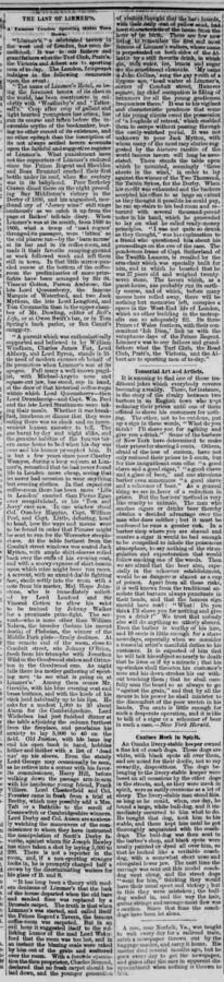 The Last of Limmer's. In: The True Northerner, 17. November 1876, Seite 3.