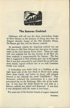 The Sazerac Cocktail - Stanley Clisby Arthur, Famous New Orleans Drinks, 1938. Seite 17.