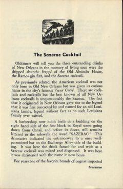 The Sazerac Cocktail - Stanley Clisby Arthur, Famous New Orleans Drinks, 1938. Seite 17.