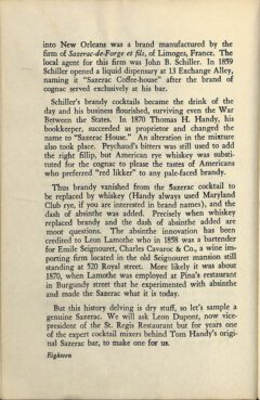 The Sazerac Cocktail - Stanley Clisby Arthur, Famous New Orleans Drinks, 1938. Seite 18.