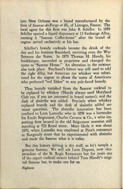 The Sazerac Cocktail - Stanley Clisby Arthur, Famous New Orleans Drinks, 1938. Seite 18.