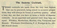 The Sazerac Coctail. Pacific Wine and Spirit Review, Vol. XLVI, No. 1, Seite 51.