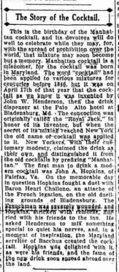 The Story of the Cocktail. Amsterdam Evening Recorder, 17. April 1917, Seite 4.