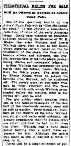 The Theatrical Relics For Sale. New York Press, 17. April 1910, Seite 5.