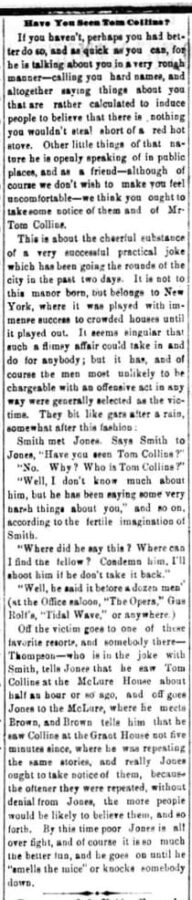 The Wheeling Daily Register, 12. Juni 1874, Seite 4. Have You Seen Tom Collins?