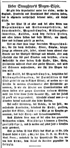 Ueber Stoughton's Magen-Elixir. Intelligenzblatt der Zeitung für die elegante Welt, 3. 29. Februar 1820. Seite 2.