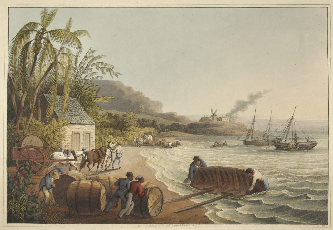 William Clark - Ten Views in the Island of Antigua (1823) - Tafel 10: Sklaven beim Verladen der Fässer auf ein Boot.