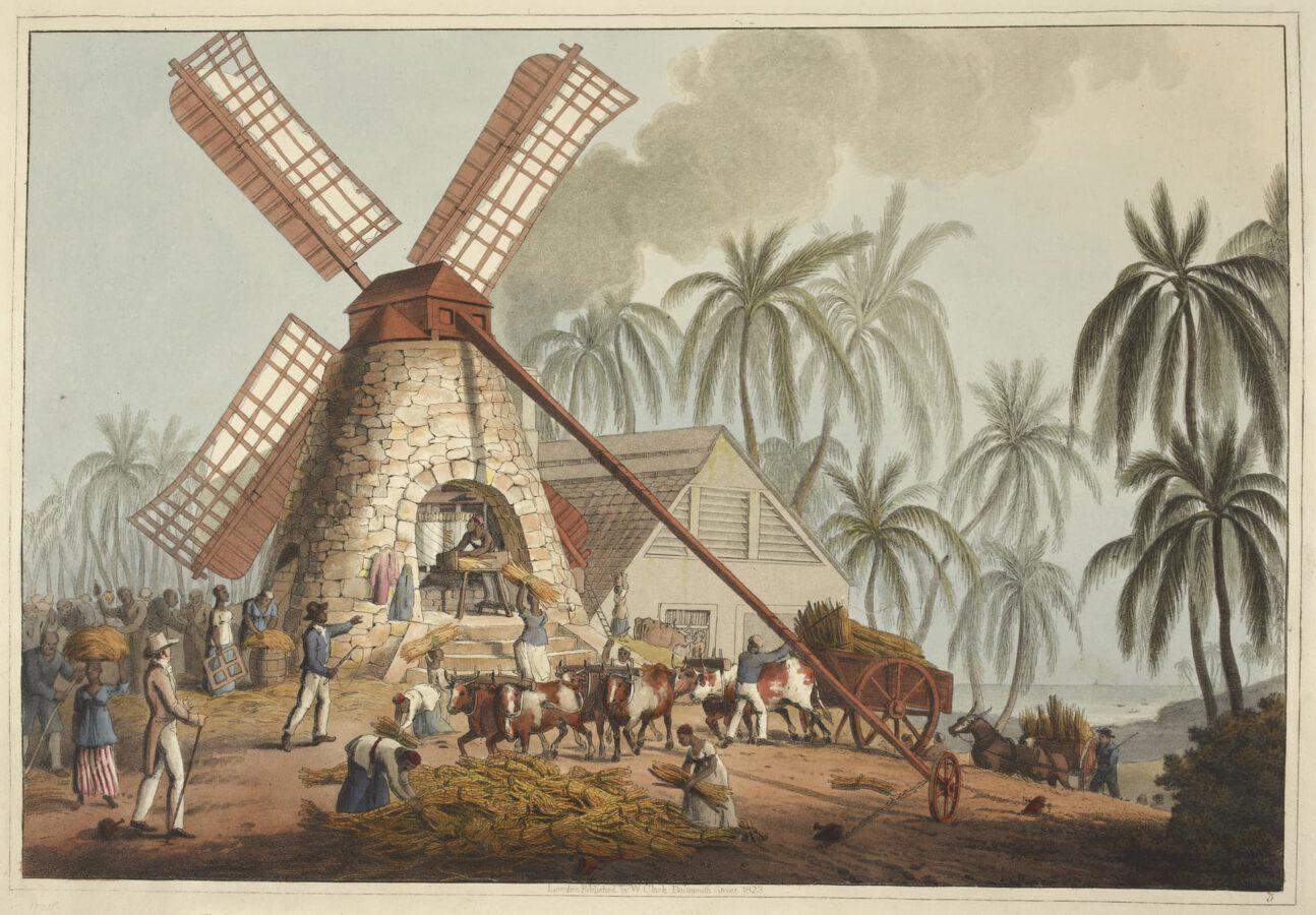William Clark - Ten Views in the Island of Antigua (1823) - Tafel 5: Auf dem Mühlenhof; mahlen des Zuckerrohres in einer Windmühle.