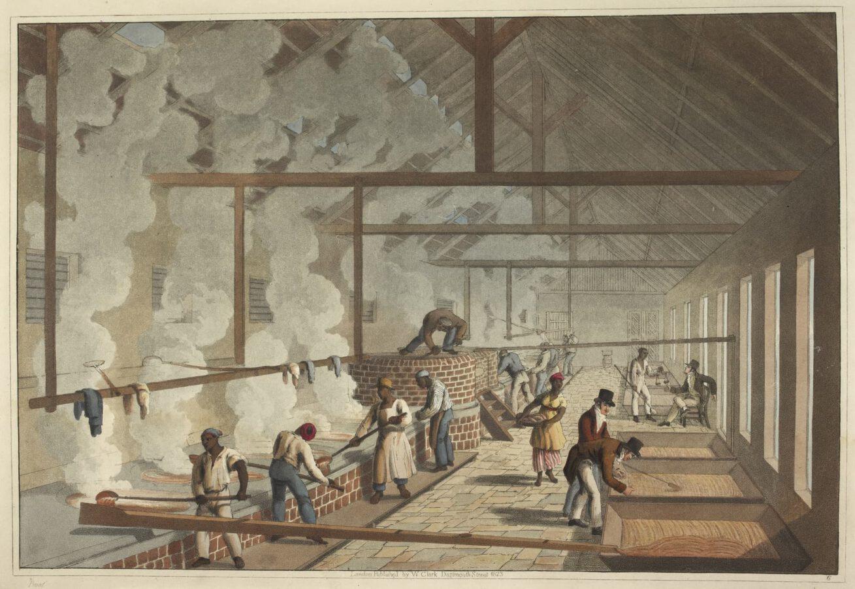 William Clark - Ten Views in the Island of Antigua (1823) - Tafel 6: Sklaven beim Arbeiten im Sudhaus.