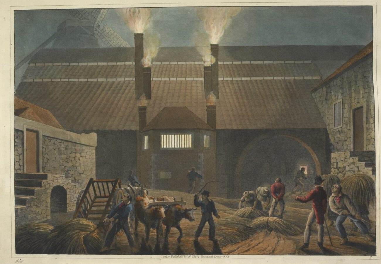 William Clark - Ten Views in the Island of Antigua (1823) - Tafel 7: Blick auf den Hof eines Sudhauses.
