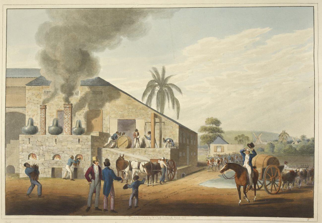 William Clark - Ten Views in the Island of Antigua (1823) - Tafel 8: Blick auf ein Kesselhaus und auf Destillationsblasen.