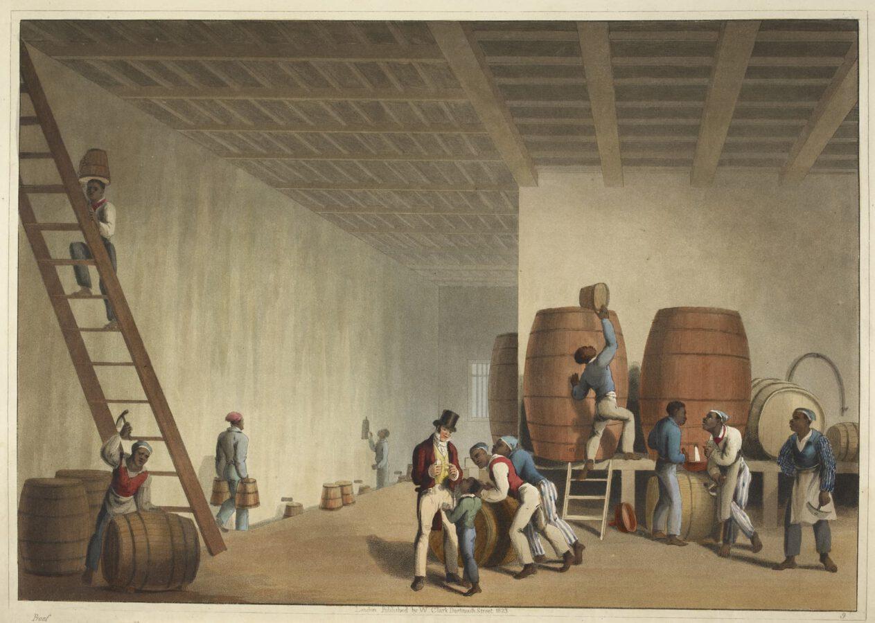 William Clark - Ten Views in the Island of Antigua (1823) - Tafel 9: Innenansicht der Brennerei; Sklaven verladen Rumfässer.