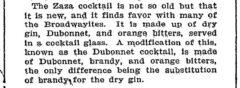 Zaza Cocktail. The New York Times. 8. Mai 1904.