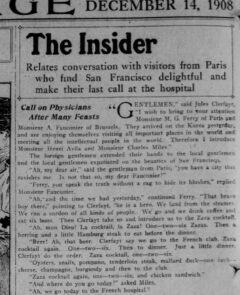 Zaza Cocktail. The San Francisco Call, 14. Dezember 1908, Seite 4.