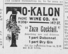 Zaza Cocktail. The Washington Herald, 15. Mai 1907, Seite 3.