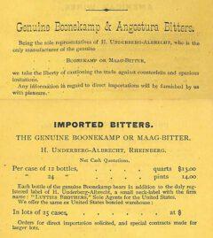 Werbung für Boonekamp von Underberg. Jerry Thomas, The Bar-Tender's Guide, 1876, Ausgabe von 1883.