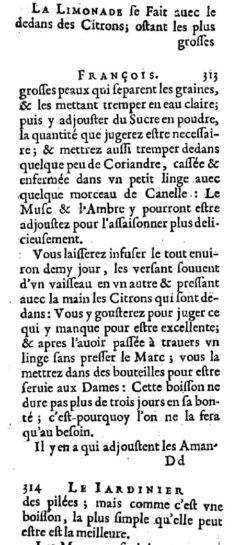 Nicolas de Bonnefons: Le iardenier françois. 1651. Seite 312-314.