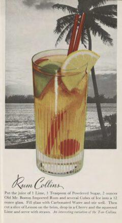 Leo Cotton: Old Mr. Boston Official Bartender's Guide. 1953. Nach Seite 112. Rum Collins.